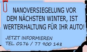 Autoaufbereitung und Nanoversiegelung für Burgau, Lauingen, Wertingen, Leipheim, Mindelheim, Thannhausen, Günzburg, Jettingen, Scheppach, Ichenhausen, Kammeltal, Augsburg, und Neu-Ulm!